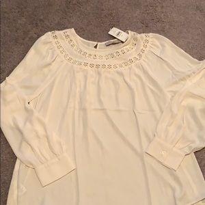 Loft mixed media cream blouse
